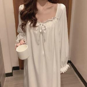 Lady Lolita Maxi Nightdress White Lace Trim Long Puff Sleeve Nightgown Sleepwear