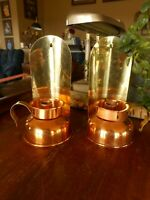Pair Copper Candlestick Holders Cabin Lodge Country Farmhouse Hunting Cabin