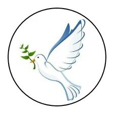 """WHITE DOVE PEACE SYMPATHY STICKER LABEL ENVELOPE SEAL PARTY 1.2"""" OR 1.5"""" ROUND"""