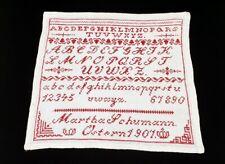 sehr schönes altes Leinen ABC Stickmustertuch mit roter Stickereivon 1907