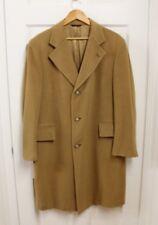 VTG Men's Long 100% Mongolian Cashmere Coat Overcoat Sz 40 Camel Brown USA Made