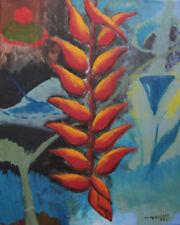 Heliconia, Semi Abstract, Original Oil Painting, Flower, Garden, Signed