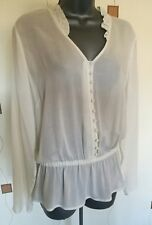 TOP BLOUSE 16 44 LARGE L IVORY CREAM WORK OFFICE OCCASION TEA M&S NEW RRP £25