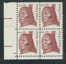 Scott #1855...13 Cent... Crazy Horse... 5 Plate Blocks of 4...20 Stamps