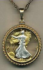 """Walking Liberty Half Dollar Silver & Gold Plated 24"""" (cut out) Coin Necklace"""