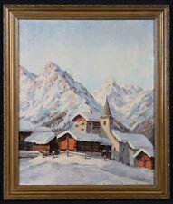Paysage de Montagnes, neige, signé J. WAGNER daté 1949