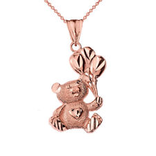 Solid 10k Rose Gold Teddy Bear With Balon Pendant Necklace