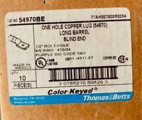"T&B Copper Compression Lug, 4/0 AWG, 1/2"" 1-Hole Stud - Long Barrel (Box of 10)"