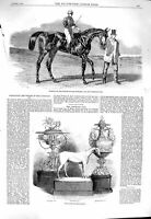 Original Old Antique Print 1860 Sweetsauce Horse Goodwood Stewards Cup Plate