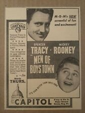 1941 Men of Boys Towns Movie Ad Spencer Tracy Mickey Rooney