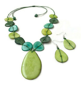 Green Tagua Necklace and Earrings Organic Handmade Tagua Pendant Necklace TAG667