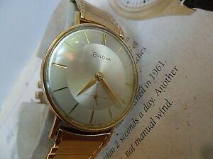 2 Tone Dial Vintage 1960 Men's Bulova 17 Jewel Cal. 11AF Swiss Watch Runs