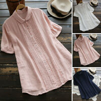 Women Summer Short Sleeve Casual Plain Shirt Tops Button Down Pleated Blouse Tee