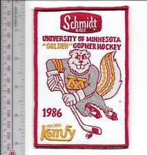 Beer Hockey University of Minnesota Golden Gophers & Schmidt Beer 1986 Promo