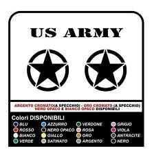 3 ADESIVI cm 25 STELLA + US ARMY x SUZUKI, JEEP, FUORISTRADA RENEGADE STICKERS
