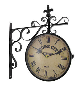 Zeckos Double Sided Dodge City Station Hanging Wall Clock