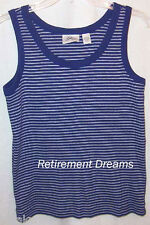 SPA by CHICOS 1 S Tank Top Shirt Blue White Stripes Stretchy small