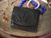 Auth Vintage CHANEL Black Small Clutch Leather WALLET Purse Handbag Accessory CC