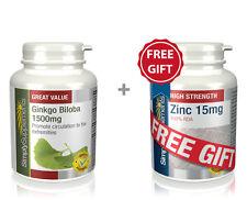 Ginkgo Biloba 1500mg 360 Tablets + FREE GIFT Zinc 15mg 60 Tablets | Circulation