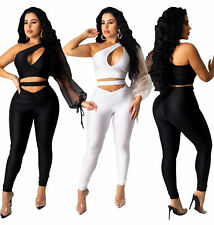 New Stylish Women One Sleeve Open Front Patchwork Bodycon Club Jumpsuit 2pcs