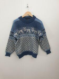Nordstrikk Made In Norway UK Size 12 Blue Fair Isle Nordic Knit Wool Jumper