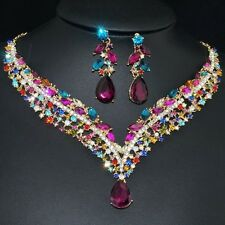 YT293 Multi Color Rhinestone Crystal Earrings Necklace Set Bridal Party Gift