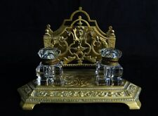 ANTIQUE EARLY 1900'S FRENCH BRONZE AND HEAVY CRYSTAL INKWELLS