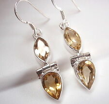 Faceted Citrine Earrings 925 Sterling Silver Dangle Drop Marquise Double Gem New