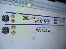 Gettysburg Pennslyvania Police Patrol  Vehicle Decals  24 scale