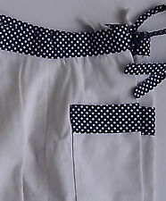 1960's Trousers white with blue polka dot waistband and trim on pockets  Vintage