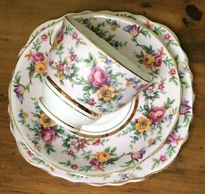 ANTIQUE VINTAGE Colclough TRIO CUP SAUCER PLATE CSP HIGH TEA ~* Pretty Flowers