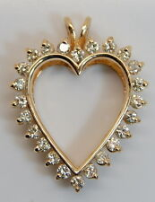 "BEAUTIFUL 14K Yellow Gold .70 + Carat 1.1"" Diamond Heart Pendant"