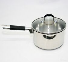 18cm Saucepan Strain & Pour Stainless Steel Cookware With Lid Induction Pan LH