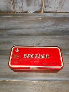 """BROTHER ACCESSORIES RED / WHITE VINTAGE TIN BOX. HINGED LID 6 1/2""""L"""