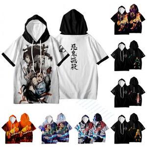 Demon Slayer Short Sleeve Hoodie Shirt Unisex Casual Hooded Tee T-shirt