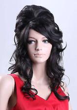 Ladies Amy Winehouse Wig Black Wig Beehive 60's Fashion UK Wigs