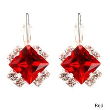 Glitzy rocks silver cubic zirconia square red resin stone shape dangle earrings