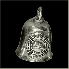 Fire Fighter Motorcycle Guardian Angel Harley Good Luck Gremlin Bell Made in USA