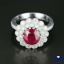 Right Hand Ring In 14K White Gold Natural 4.57 Ct Diamond & Ruby Cocktail Ring