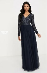 Maya Bridesmaid Long sleeve V-neck maxi tulle dress with Sequins - Curve Size 20