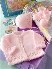 Lacy Border Cardigan Bonnet & Bootees Newborn Baby Set ~  DK Knitting Pattern