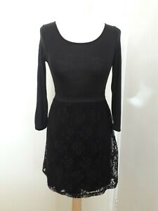 Girls H&M Black Stretch Jersey & Lace Party Dress Sz 12-14 Years Goth Emo
