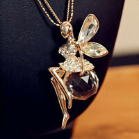 Charm Crystal Fairy Angel Wing Pendant Long Chain Sweater Necklace Jewelry