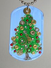 Steampunk Christmas Tree Pendant Gears Cogs Clockwork Dog Tag Necklace D182