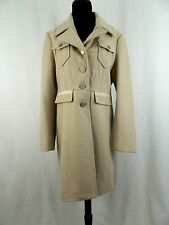 Kenneth Cole New York Beige Brown Wool Long Winter Trench Coat Jacket 12