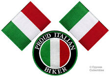 LOT of 3 - PROUD ITALIAN BIKER iron-on ITALIA PATCH ITALY FLAG embroidered TOPPA