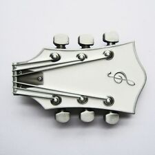 NEW ELECTRIC GUITAR HEADSTOCK MUSIC WHITE BELT BUCKLE