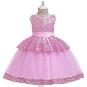 Girl's Xmas Gif Mesh Cake Flower Princess Dresses Party Evening Gown Kids Dress