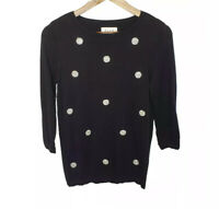 Elle Sweater Black Small S Diamond Bling Embellished 3/4 Sleeve Business Casual