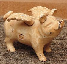 rare superbe ancienne tirelire cochon ailée en fonte  bon etat voir photos